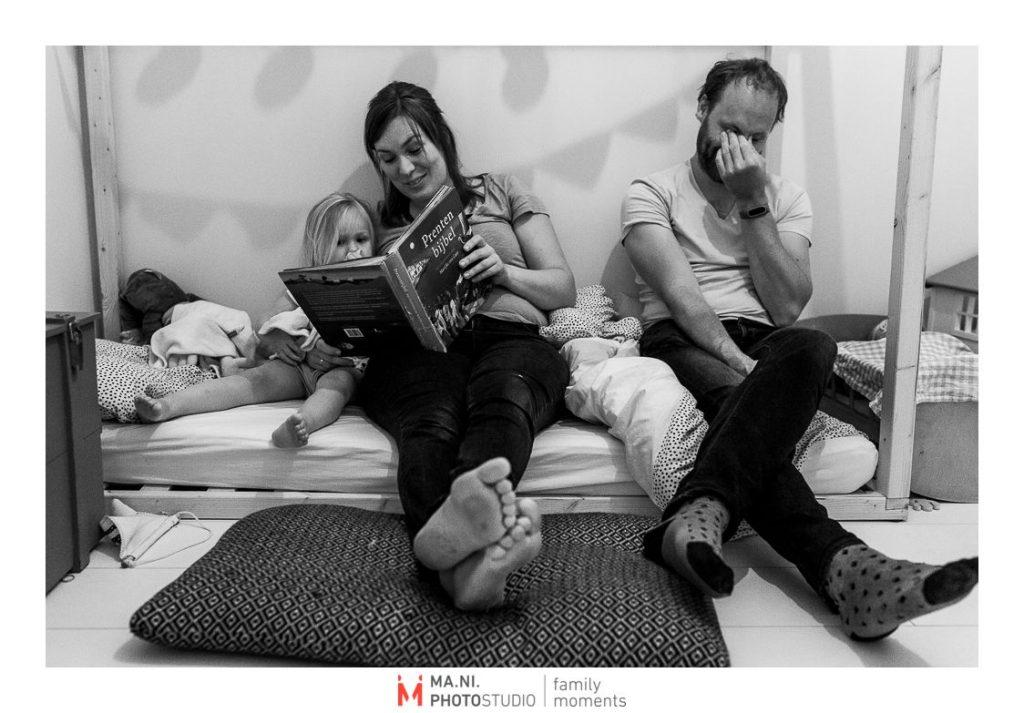 Fotografia di famiglia in Olanda, letture della buona notte