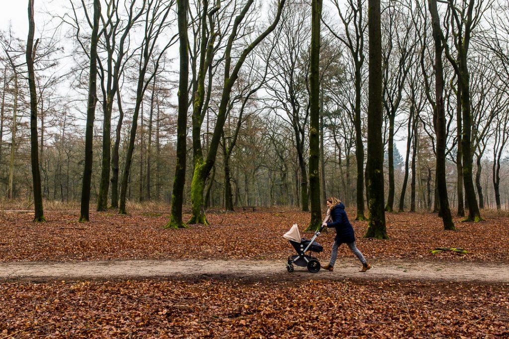 La madre fa una passeggiata nel bosco dopo aver portato a scuola i figli più grandi